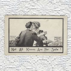 Antique Valentine Postcard – Couple Kissing – Kisses for Sale Post Card from the – Love Ephemera – Black and White Drawing – Unused – Valentines Day İdeas 2020 Valentines Day Drawing, Happy Valentines Day, Tunnel Of Love, Couple Kissing, Vintage Romance, Black And White Drawing, Post Card, Ephemera
