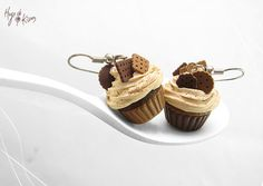 SCENTED Chocolate Cupcake EarringsMiniature Food by HugsKissesMINI, $32.50