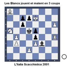Les Blancs jouent et matent en 3 coups - Plus d'exercices sur www.echecs-et-strategie.fr #echecs #chess #ajedrez
