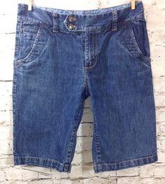 Eddie Bauer Womens 4 Bermuda Walking Jean Shorts 100% Cotton Denim Flap Pockets #EddieBauer #BermudaWalking