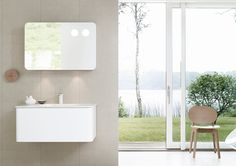 Bathroom furniture and mirror cabinet floating in perfect harmony.