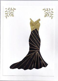 Ribbon Iris Fold Card  Dress in Black with Gold by FourSistersShop, $4.50