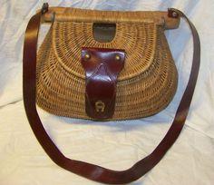 Vintage Etienne Aigner Fishing Creel Wicker Handbag Purse Bag | eBay