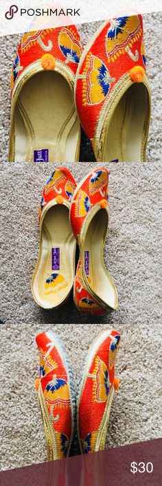 New 2018 ! Vibrant Orange Umbrella Jutti New Collection 2018 ! Unique umbrella design in vibrant orange and yellow combination. Fully thread embroidered. Embroidered on the sole as well to make that statement when you take them off ! Comes in 4 colors. Tend to expand a bit after 3-4 wears.Super Comfy!  In India, we call these 'jutti'. Shoes Flats & Loafers