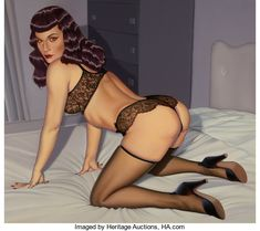 Pin-up and Glamour Art, ROBERT D. BLUE (American, 1946-1998). Bettie Page in BlackLace, 1994. Acrylic on canvas. 42 x 47 in.. Signedindistinct...