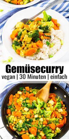 Vegetarische und vegane Rezepte gesucht? Dieses einfache Gemüsecurry mit Süßkartoffeln, Spinat und Brokkoli ist das perfekte Wohlfühlessen! Es ist vegan, super einfach zuzubereiten und so lecker! #vegan #vegetarisch #Abendessen