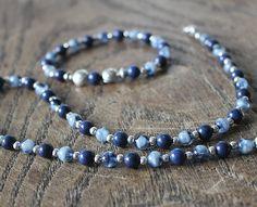 Set of necklace and bracelet made of lapislazuli and by eendar