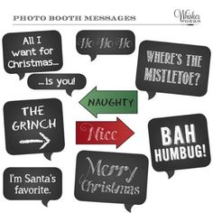 DIY Photo Booth Printables Chalkboard Signs by WhiskerWorks Office Christmas Party, Christmas Party Games, Holiday Parties, Christmas Fun, Holiday Fun, Xmas Party, Festive, Christmas Things, Christmas Photo Booth Props
