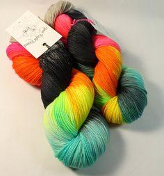 Hand Dyed Sock Yarn - SW Sock 80/20 - Superwash Merino Nylon - 400 yards - Rainbow in the Dark by SpunRightRound on Etsy