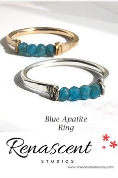 Spring sale is now on and these new released gemstone rings are available!  These gorgeous rings feature blue apatite crystals. A dainty and feminine ring with vibrant blue colouring; in direct light the blue looks lighter in colour. Click the pic to check them out.