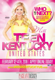 MISS TEEN KENTUCKY UNITED STATES 2016 Pageant Recruitment Flyer | Directors, get in touch if you need a great-looking, professionally-designed ad! | We offer graphic design solutions for all your pageantry needs! Pageant Ads | Pageant Program Books | Websites | Flyers & Promo Items + more! | For samples, check out: http://www.pageantdesignsolutions.com/ and like us on facebook: https://www.facebook.com/pageantdesign • ALL STATES, ALL AGES, ALL PAGEANTS SYSTEMS WELCOME!