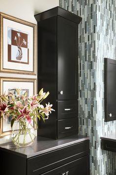 Maple Vanity and Cabinets in Onyx