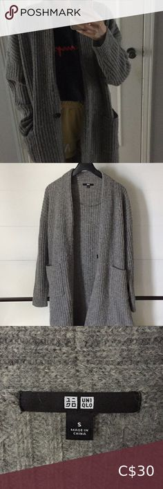 Uniqlo - Grey Wool Ribbed Cardigan (Size S) Great condition, no stains, no rips wool Uniqlo Sweaters Cardigans Ribbed Cardigan, Sweater Cardigan, Uniqlo, Cardigans, Gray Color, Sweaters For Women, Stains, Product Description, Wool