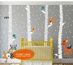 wall decal winter wood with animals www.funky-lama.com