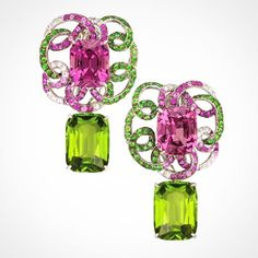 Rare Pink Spinel 14.19ct with a Swirl of Diamonds, Pink Sapphires and Tsavorite Garnets with a pair of detachable Peridot 15.77ct drops.