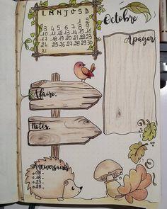 """174 mentions J'aime, 15 commentaires - Intemporelle Création (@intemporelle.creation) sur Instagram: """"1ere page du mois d'octobre dans mon bullet journal... #bulletjournaling #bujofrançais #bujo…"""""""