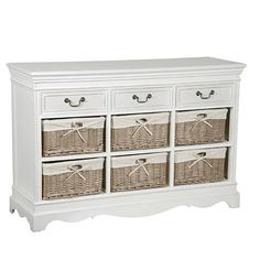 White Hall Table W/ 6 Baskets Storage Boxes, Storage Baskets, Storage Units, Dining Furniture, Diy Furniture, Large Chest Of Drawers, White Sideboard, White Painted Furniture, Contemporary Style Homes