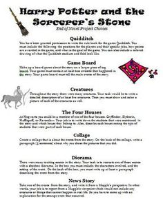 Harry Potter and the Sorcerers Stone End of Novel Project Choices Harry Potter Classroom, Harry Potter Theme, Watch Harry Potter Movies, 6th Grade English, Potter School, Teacher Evaluation, The Sorcerer's Stone, Mischief Managed, Book Activities