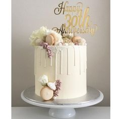 Anniversary Cake Cake Topper von footeandflame - My Pano - # 30th Wedding Anniversary Cake, 30th Anniversary Parties, Pearl Anniversary, Custom Cake Toppers, Custom Cakes, Bolo Sofia, Aniversary Cakes, Drip Cakes, Birthday Cake Toppers
