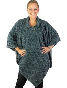 Magic Scarf Rippled Faux Fur Poncho - $29 - Available in Black, Gray, and Tan