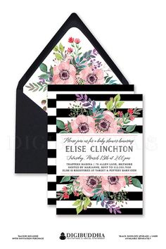 Black & White stripe baby shower invitations with whimsical boho chic rainbow watercolor flowers and blush pink anemones. Personalized and double sided, available in premium shimmer and thick card stocks, or as a printable baby shower invitation. Only at digibuddha.com