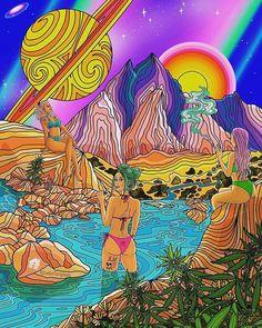 Heel nice, alles hieraan is eigenlijk wel chill Psychedelic Drawings, Trippy Drawings, Psychedelic Tapestry, Hippie Painting, Trippy Painting, Arte Dope, Dope Art, Trippy Pictures, Psychadelic Art