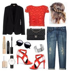 ♡mon p'tit top rouge...♡ by clarinette38 on Polyvore featuring polyvore fashion style Alice + Olivia Maesta Uniqlo Kendall + Kylie Chanel Daniel Wellington Bobbi Brown Cosmetics Estée Lauder Essie clothing