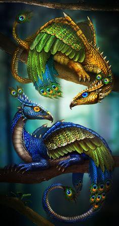 Peacock Dragons @Katie Hughes @Stephanie Hughes Look girls a cross bewteen your favorite things!