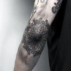 Flower Linework Elbow Tattoo Designs For Guys