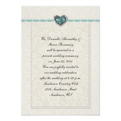Teal Jewel Heart Ribbons and Lace Post Wedding Card