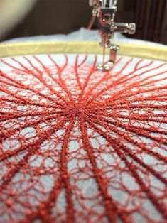 Elegant embroidered traceries by Meredith Woolnough