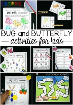 Awesome bug and butterfly activities for kids! Perfect for an insect unit or bug theme. Fun ABC games, word family activities, sight word games, math centers, addition games...