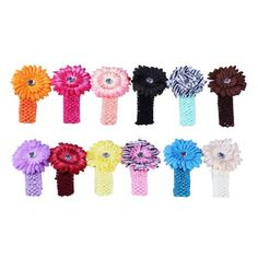 Bundle Monster 24-Piece Daisy Flower Clip Crocheted Baby Headbands / Hair Clips Mixed Color Lot for Girls - Fits 0 to 5yrs Toddler:$13.99