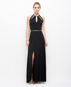 Satin Jersey Chain Halter Gown | Ann Taylor