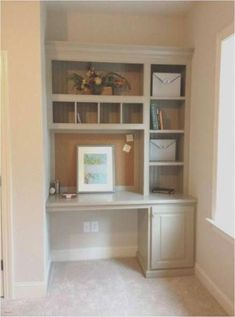 trendy bedroom desk built in shelves Alcove Desk, Desk Nook, Bookshelf Desk, Office Nook, Closet Office, Bedroom Bookshelf, Alcove Ideas Bedroom, Closet Desk, Office Setup
