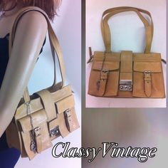 VINTAGE hand made in Italy Perlina shoulder bag. Tan leather -lock front with key- two snap front pockets - zippered top- inside has one large sidewall pocket and one open sidewall pocket . Beautiful HAND MADE in Italy bag. Inside is lined with a few small stains. Outside also has a few marks but nothing obvious. One on strap near bag- one on left front pocket and one on bottom. A hither marks are just the beauty if real loved subtle leather. Perlina Bags Shoulder Bags