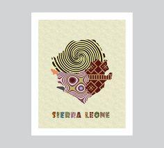 Sierra Leone Map Art Print, Sierra Leone Wall Decor, Freetown Sierra Leone AVAILABLE @ $15