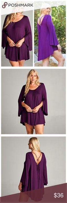 Purple Dress With Criss-Cross Tie In Back Purple dress with bell sleeves and criss-cross tie in back, hi-low hemline. Dresses