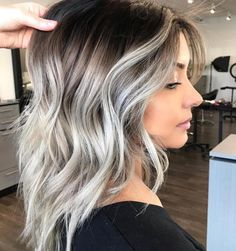 Gray Lace Frontal Wigs long white blonde hair – wigsshort Best Picture For ombre hair styles For You Hair Color Highlights, Ombre Hair Color, Hair Color Balayage, Ash Ombre Hair, White Highlights, Haircolor, Dark Roots Blonde Hair Balayage, Brown Hair With Silver Highlights, Icy Blonde