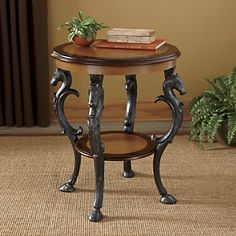 Horse head and hoof end table