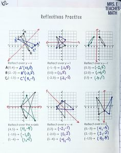reflections practice page for interactive notebooks in high school geometry
