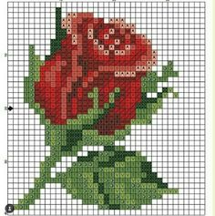 diagram for pixel blankets or crochet cross stitch! Simple Cross Stitch, Beaded Cross Stitch, Cross Stitch Rose, Crochet Cross, Cross Stitch Flowers, Cross Stitch Charts, Cross Stitch Designs, Cross Stitch Embroidery, Cross Stitch Patterns