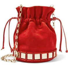 Tomasini Lucile embellished suede bucket bag (€380) ❤ liked on Polyvore featuring bags, handbags, shoulder bags, red, red suede handbag, red cross body purse, crossbody bucket bags, red crossbody purse and suede crossbody