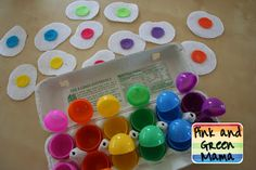 Pink and Green Mama: * Color Matching Easter Egg Game: Plastic Easter Eggs, felt eggs with colored yolks, pom poms? Easter Activities, Color Activities, Toddler Activities, Preschool Colors, Preschool Activities, Teaching Colors, Fun Learning, Learning Activities, Easter Crafts