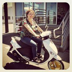 """Susan on her new Genuine Buddy 50 Lemonhead! Super cute!"" #MyGenuineScooter #Scooter  via vespaportland on Instagram"