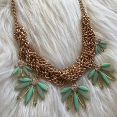 Mint & Gold Statement Necklace Very cute and fashionable, Fashion Jewelry, statement Necklace Jewelry Necklaces