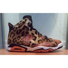 "Air Jordan 6 ""Jungle Fever"" Custom ❤ liked on Polyvore featuring shoes, jordans and sneakers"