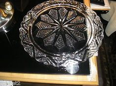 """Chevron Star Clear Glass Cake Plate 11.5"""" 60's Vintage"""