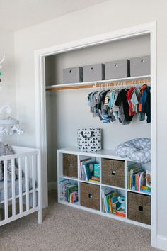 Beautiful rustic neutral nursery with gray, white, and wood accents.  So many cute pictures and ideas like this organized, open closet!