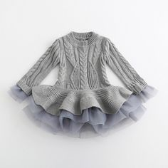 Miss Aubrey is a sweet grey knit and can be worn as a dress or a top. Have your doll wear this piece as a dress and then grow into it as top the very next year. We love the functionality and flare of Little Girl Fashion, Little Girl Dresses, Kids Fashion, Baby Girl Sweaters, Blue Sweaters, Baby Chanel, Cute Babies, Baby Kids, Barbie